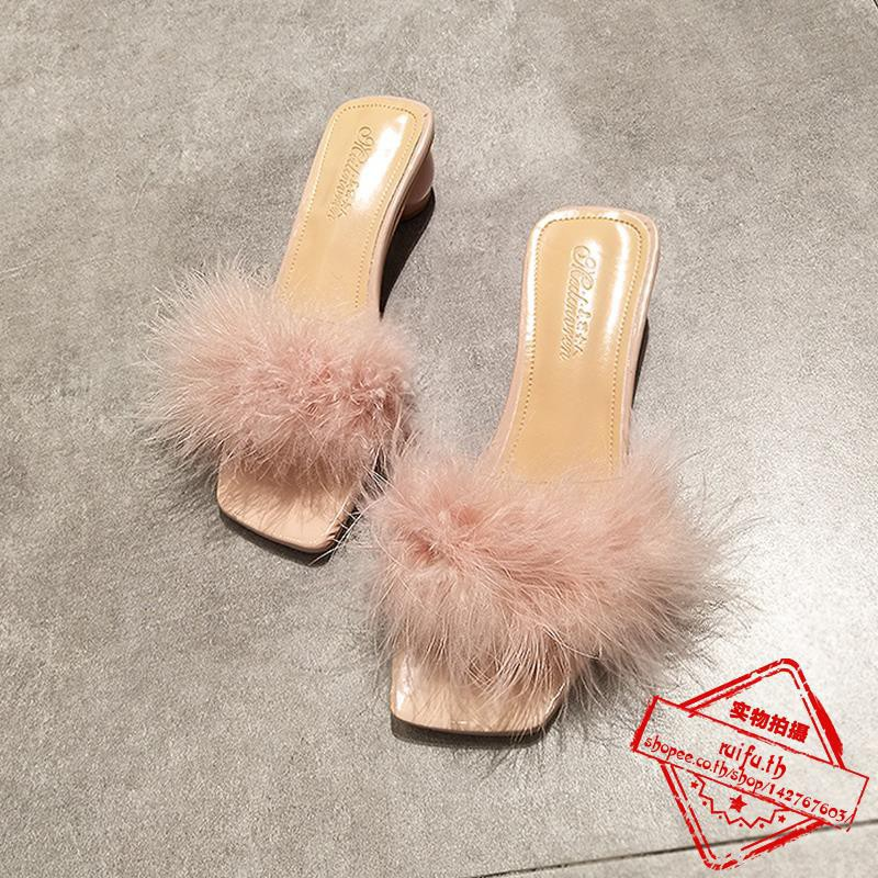 ัตว์ปากตื้นเปิดนิ้วเท้า, แฟชั่น, ยุโรปและสหรัฐอเมริกาหนาและรอบกับสุทธิรองเท้าแตะลากหญิงสีแดงและครึ่ง