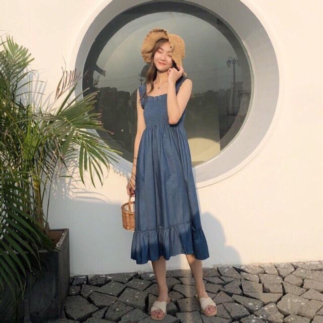 Đầm maxi nhún chỉ xanh đậm