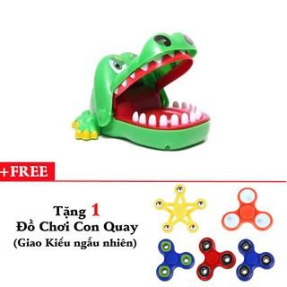 Đồ chơi khám răng cá sấu + tặng đồ chơi con quay giải trí 3 cánh