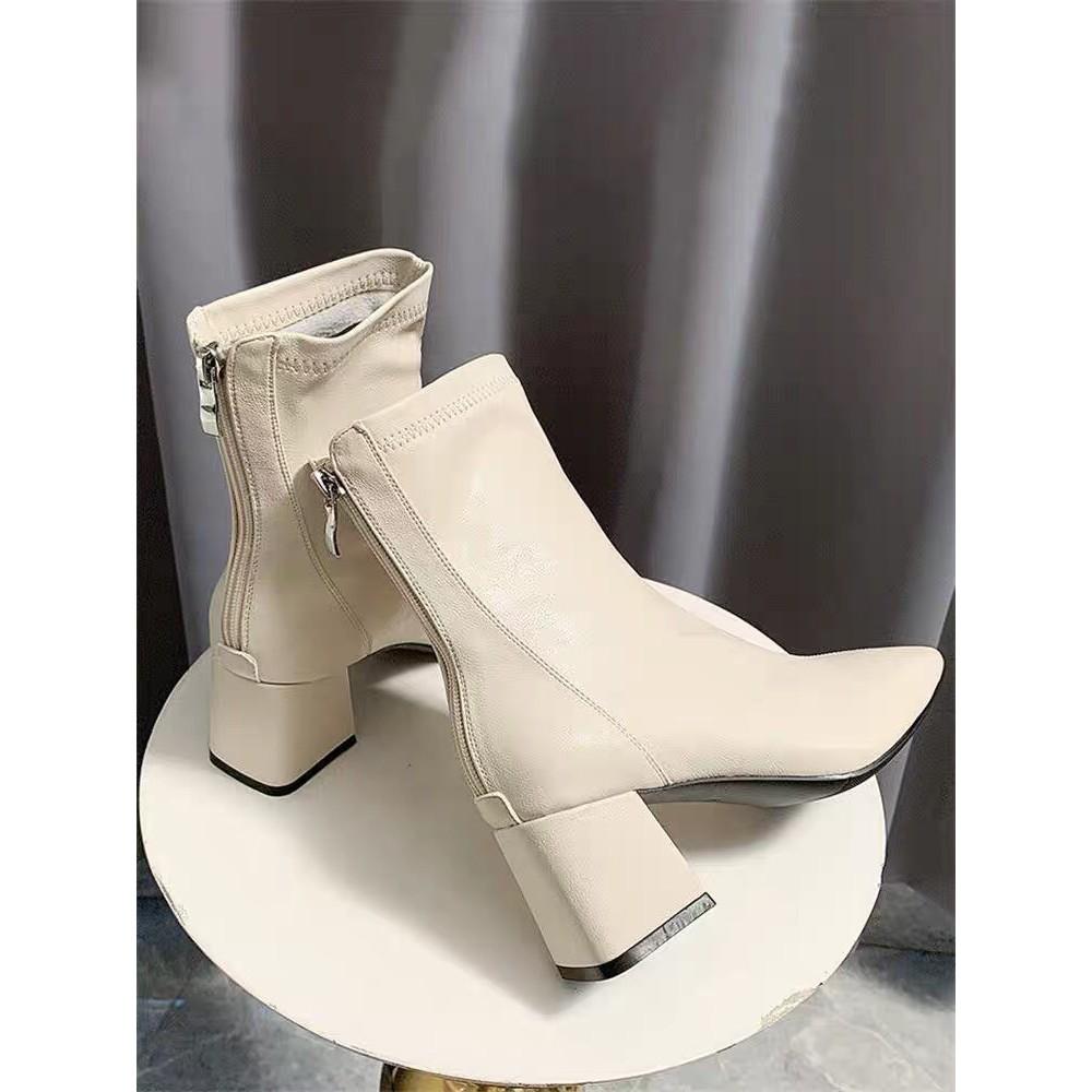 Giày bốt da mềm nữ cao cổ lót nỉ khóa sau cao cấp-boot mũi vuông đế 6 phân TẶNG KÈ