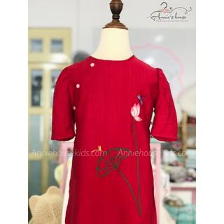 (SALE TẾT) Áo dài ANNIE đỏ thêu hoa sen quần trắng cho bé đón Tết