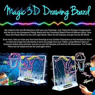 COD Magic 3D Drawing Board 3D Flash 3D Sketchpad Painting Early Learning DIY Toys Children Kid Painted Board YD