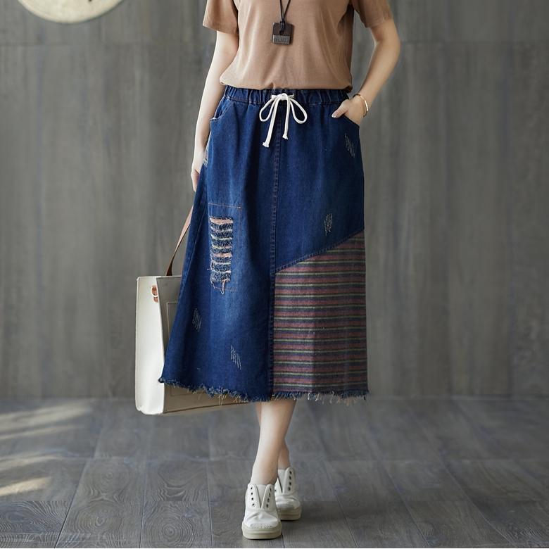 chân váy denim lưng cao thời trang cho nữ