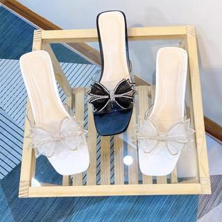 Dép cao gót nữ đế vuông nơ bánh bèo cao 3cm MINICHINO thời trang màu trắng và đen thumbnail