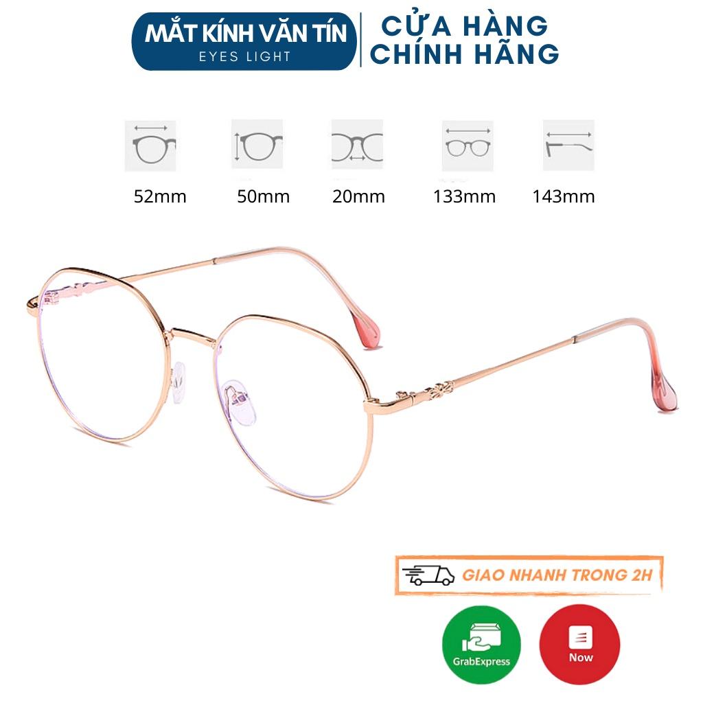 Gọng kính cận Eyes Light T561 mắt kính nữ tròn càng kim loại cao cấp không gỉ
