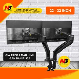 Giá treo hai màn hình NB-F195A 22 – 32 inch Giá treo màn hình gắn bàn Model mới 2020