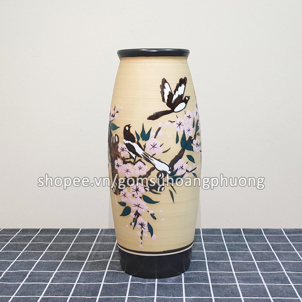 Bình hoa sứ cao cấp Bát Tràng cao 32cm S101 - 11 màu men