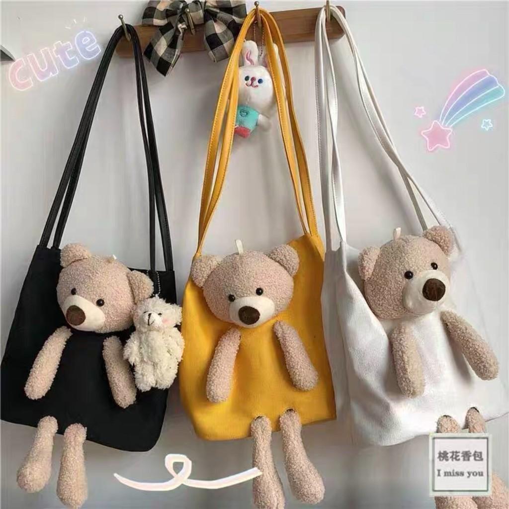 Túi tote đeo đi học đi chơi vai vải canvas gắn gắn bông siêu xinh cute thời trang Hàn Quốc nhiều màu