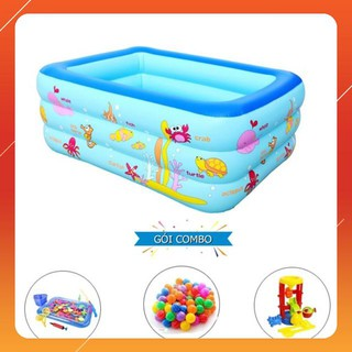 [KAS] Bộ bể bơi 1m5 3 tầng + bộ câu cá + 100 banh ( bóng ) nhựa + xúc cát Loại Xịn
