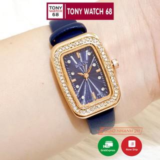 Đồng hồ nữ Bolun chữ nhật đính đá dây da nhiều màu độc đáo chống nước chính hãng Tony Watch 68