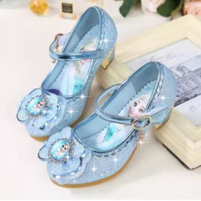 Giày cao gót Elsa cao 3cm (size 24-36): Đế cao su mềm, da PU đính kim tuyến lung linh
