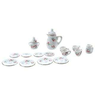 Set of 15pcs 1/12 Dollhouse Miniature Dining Ware Porcelain Tea Set—Red Cherry