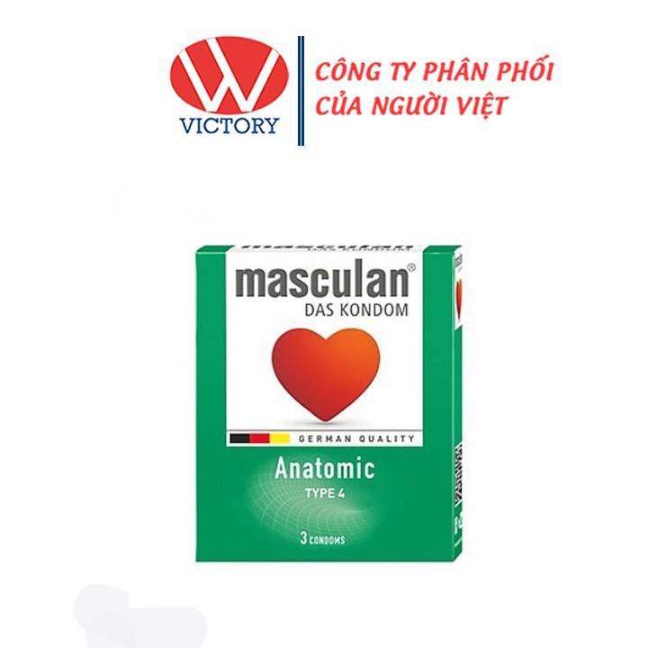 Hộp 3 cái - Bao Cao Su Masculan Anatomic Type 4 (Masculan Xanh Lá) - Tạo dáng hoàn hảo - Victory Pharmacy