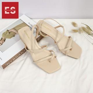 Hình ảnh Sandal nữ xỏ ngón dây mảnh thời trang Erosska cao 5cm màu kem_EB024-6