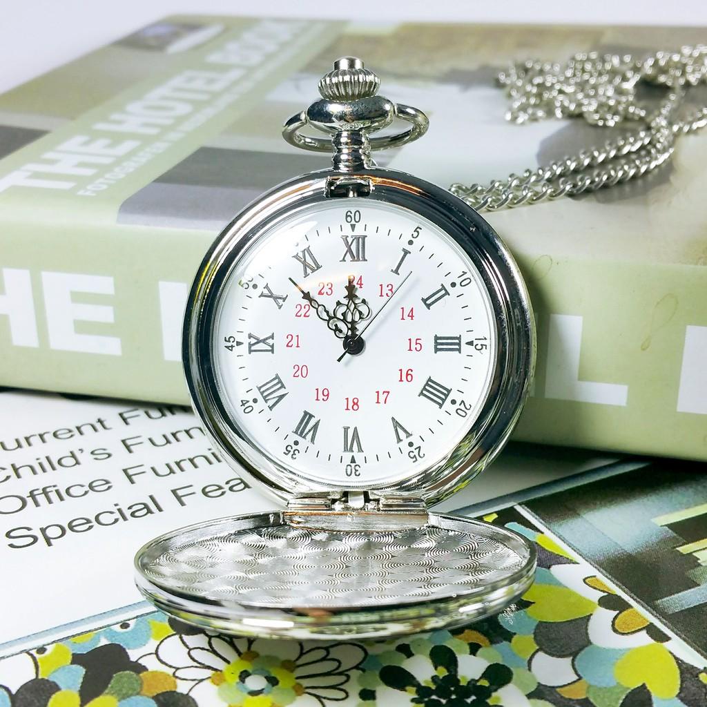 Đồng hồ quả quýt : Màu Bạc Trơn - Cổ điển - Sắc nét