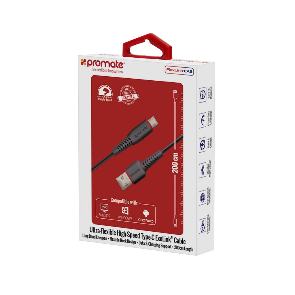 Cáp sạc Promate FlexLink-CA2 cổng USB Type-C 2m (Đen)