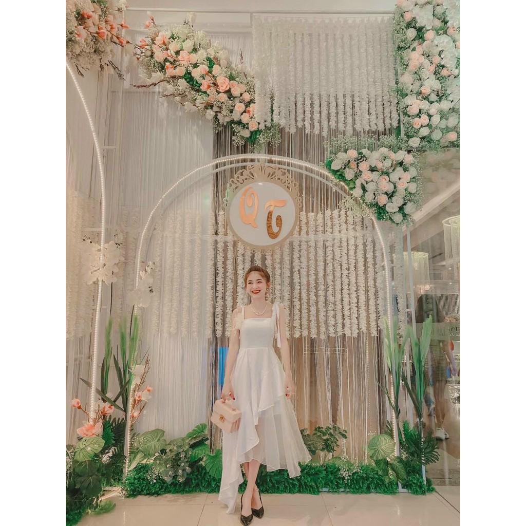 Đầm trắng 2 dây cúp phối lưới vạt xéo Hadi Dress