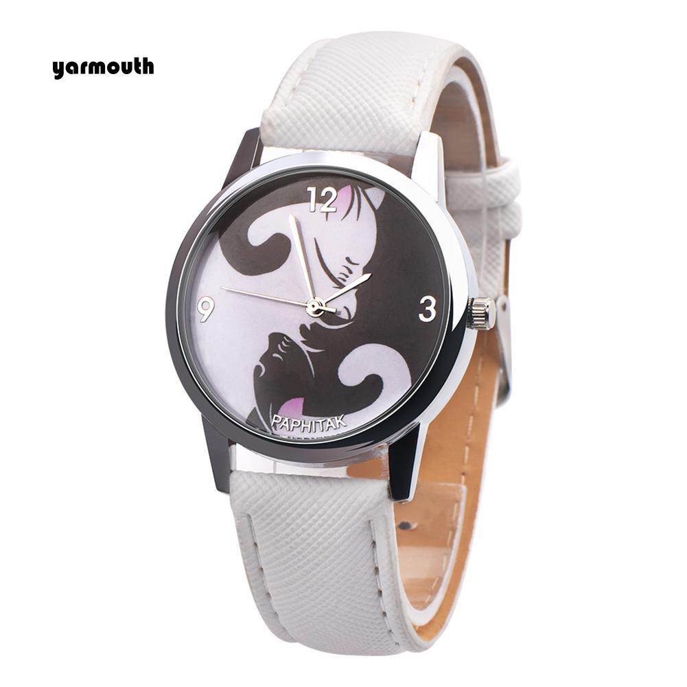Đồng hồ kim họa tiết con mèo dây đeo giả da thời trang dành cho các bé