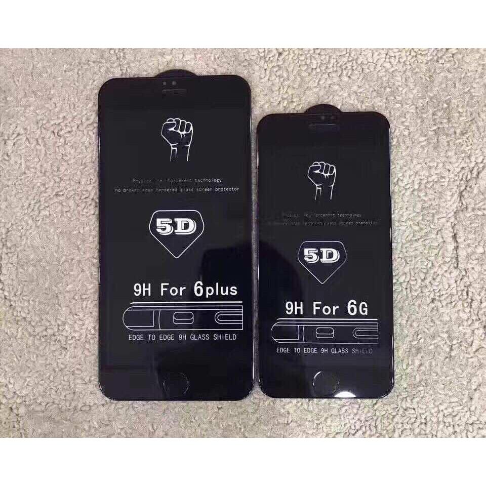 Kính cường lực Full 5D 6Plus/6/6S Loại Tốt ( Màu đen)