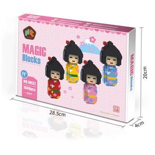 Bộ lắp ghép LEGO – Tứ nữ kimono Xuân – Hạ – Thu – Đông gồm 1848 mảnh ghép
