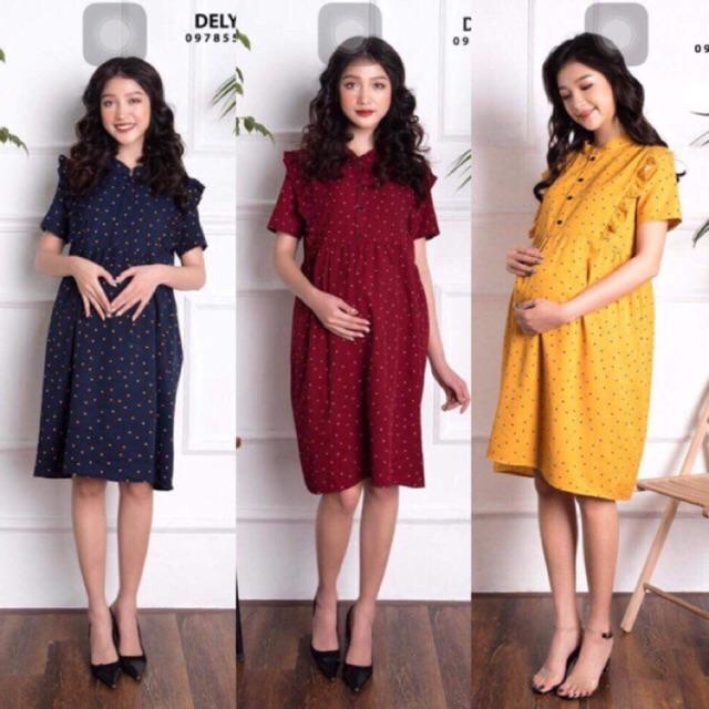 váy bầu cổ trụ- đầm bầu chấm bi cổ trụ( inbox cân nặng và số tháng mang