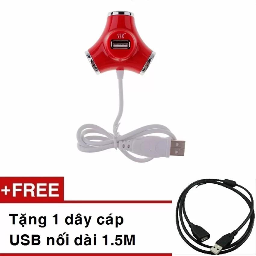 Bộ chia USB 4 cổng SSK SHU012 Tặng kèm cáp USB nối dài 1.5M
