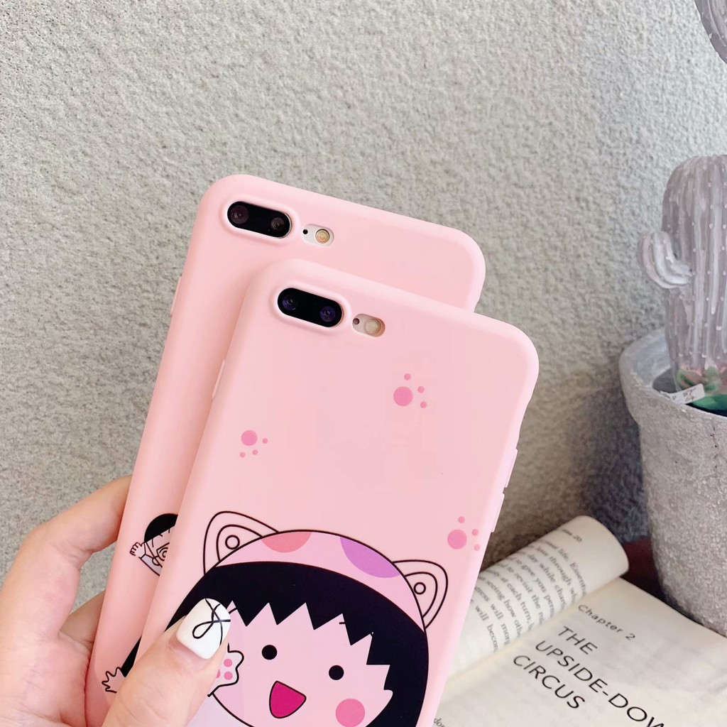 Vỏ điện thoại di động iPhone 6 6s 7 8 X Xs XR Xs Max Case Cute Cartoon Sakura Momoko Silicone iPhone Soft Cover