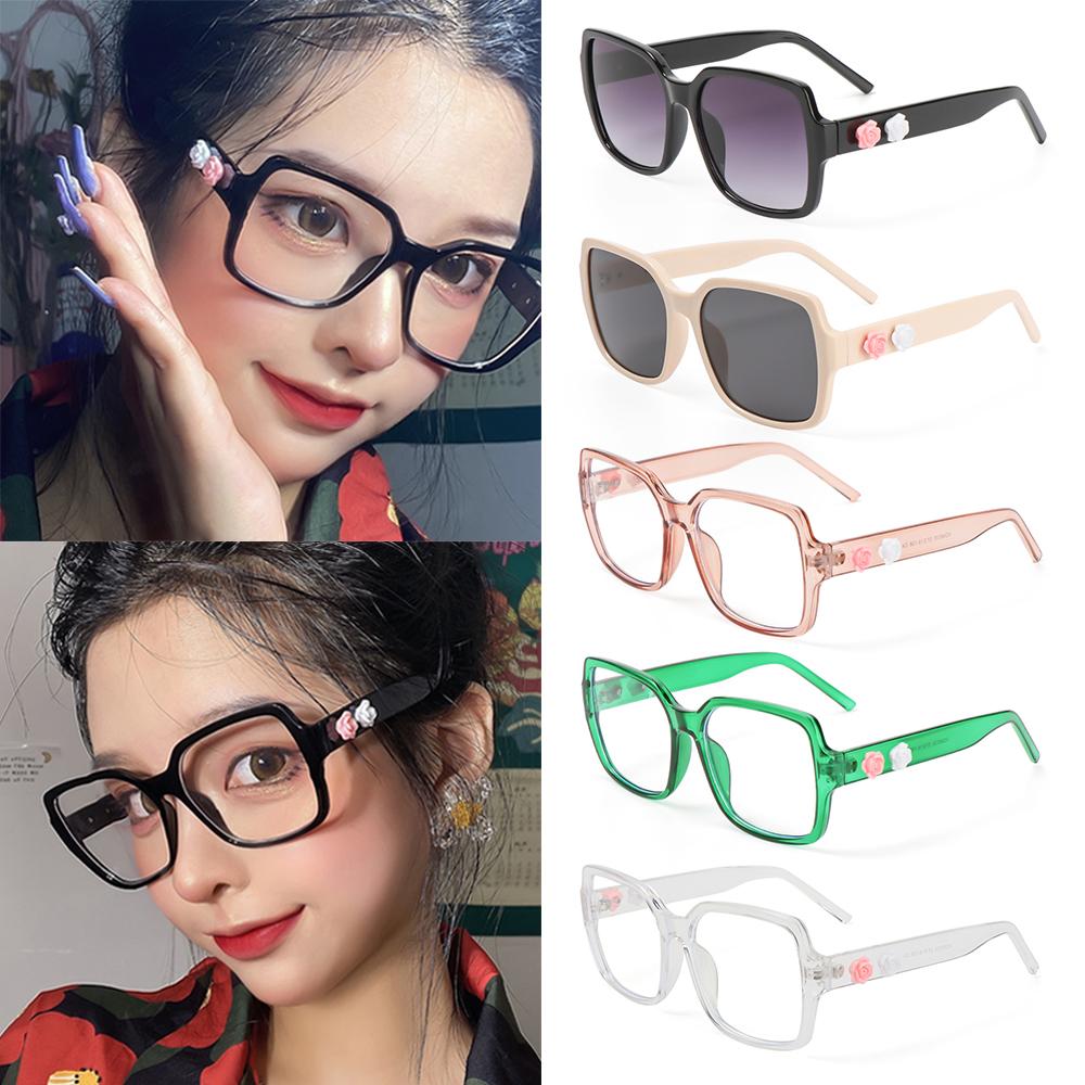 XIANSTORE Fashion Flowers Eyeglasses Vintage Eye Protection Anti-Blue Light Glasses Women Portable Oversized Computer Square Ultra Light Frame