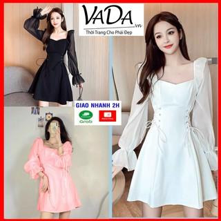 Đầm xoè dự tiệc màu đen mặc được nhiều kiểu eo đan dây xinh xắn - Thời Trang VADA - Đ300 thumbnail