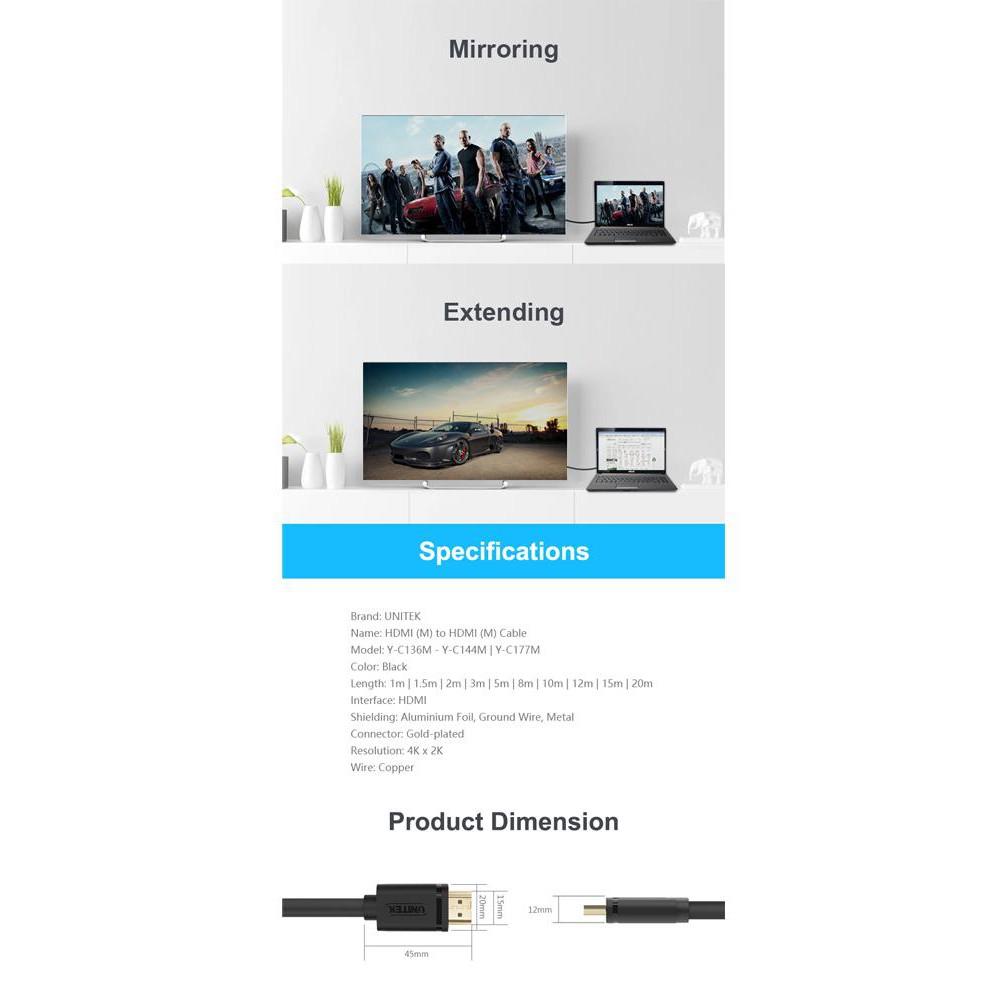 Dây cáp HDMI 20M UNITEK Ultra HD 4K & 3D Y-C 144M (Hãng phân phối chính thức)