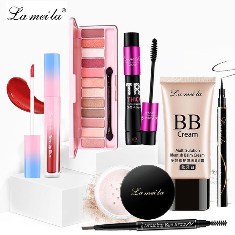 Bộ trang điểm LAMEILA 7 món Kem BB + Phấn phủ + Phấn mắt + Mascara + Chì kẻ mày + Bút dạ kẻ mắt + Son kem ZD-BT061