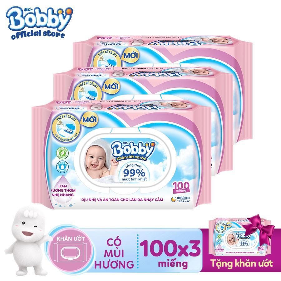 [HCM][Tặng thêm 1 gói] Bộ 3 gói Khăn ướt Bobby...