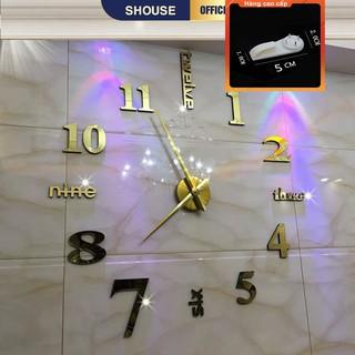 [QUÀ TẶNG LÀ 1 ĐINH 4 CHÂN NHA BẠN dùng cho] Đồng Hồ Dán Tường Treo Tường cỡ lớn cao cấp 3D giấy decal trang trí