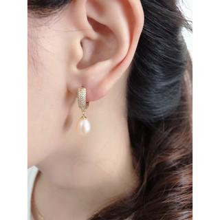 Khuyên Tai Nữ, Bông Tai Bạc S925 Xi Vàng Khoen Tròn Gắn Hạt Sang Trọng B2540 - Bảo Ngọc Jewelry