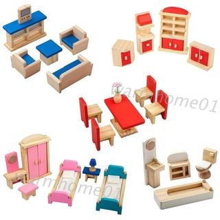 WM Wooden Dollhouse Furniture Set, 5 Set Fully Assembled Pretend Playhouse Set