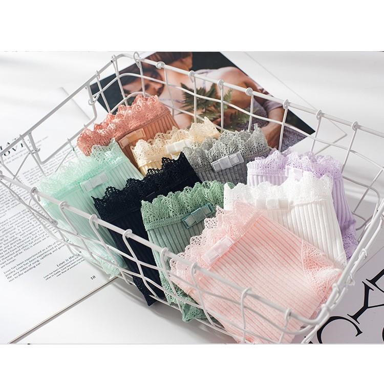 [Set 10 quần] Quần lót nữ cotton gân tăm viền ren quyến rũ phối nơ xinh xắn