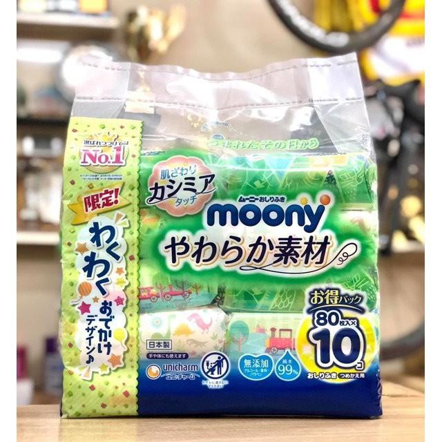 Lốc 10 gói khăn ướt Moony Nhật Bản gói 80 tờ