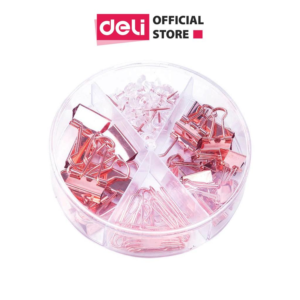 Bộ phụ kiện Deli - Set ghim vòng + ghim mũ + kẹp bướm - Mạ vàng hồng - 1 hộp - 78553