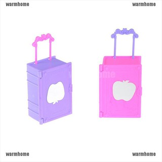warmhome 2pcs Kids Toy Plastic Travel Suitcase Luggage Case Trunk For Barbie Doll House thro