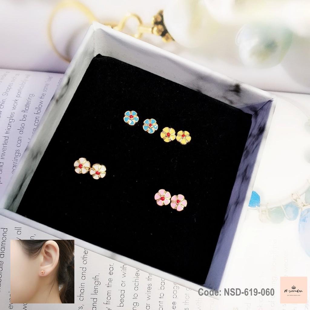 ต่างหูสแตเลสดอกไม้ขนาดเล็ก Flower Earrings, Stainless steel, Made in Korea