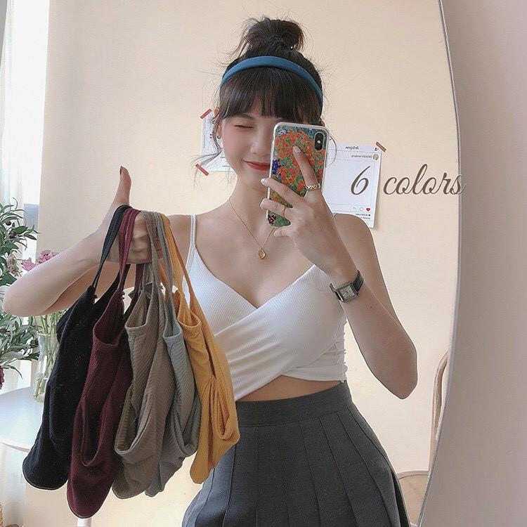 Áo Bra 2 dây tập gym nữ CharmAiry, áo ngực kiểu tập gym + yoga co giãn thoáng mát có mút VẠT CHÉO