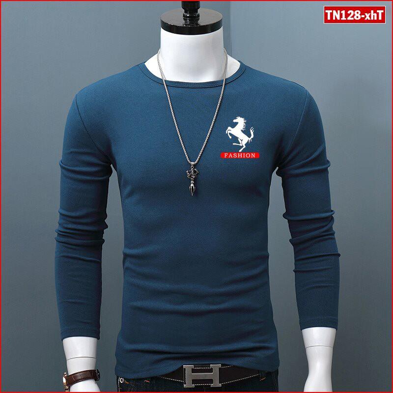 Áo thun nam tay dài TN128 logo con ngựa vải sợi tre tổng hợp bảo vệ môi trường