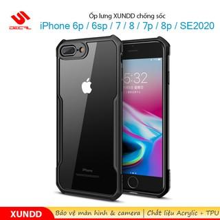 Ốp lưng XUNDD iPhone 6+ /6sp/  7/8 / 7p/8p / SE 2020, Mặt lưng trong suốt, Viền TPU, Chống sốc