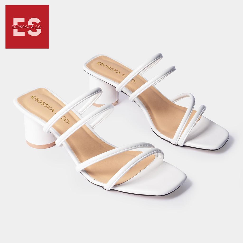 Dép cao gót Erosska thời trang mũi vuông phối dây quai mảnh cao 5cm màu trắng _ EM038