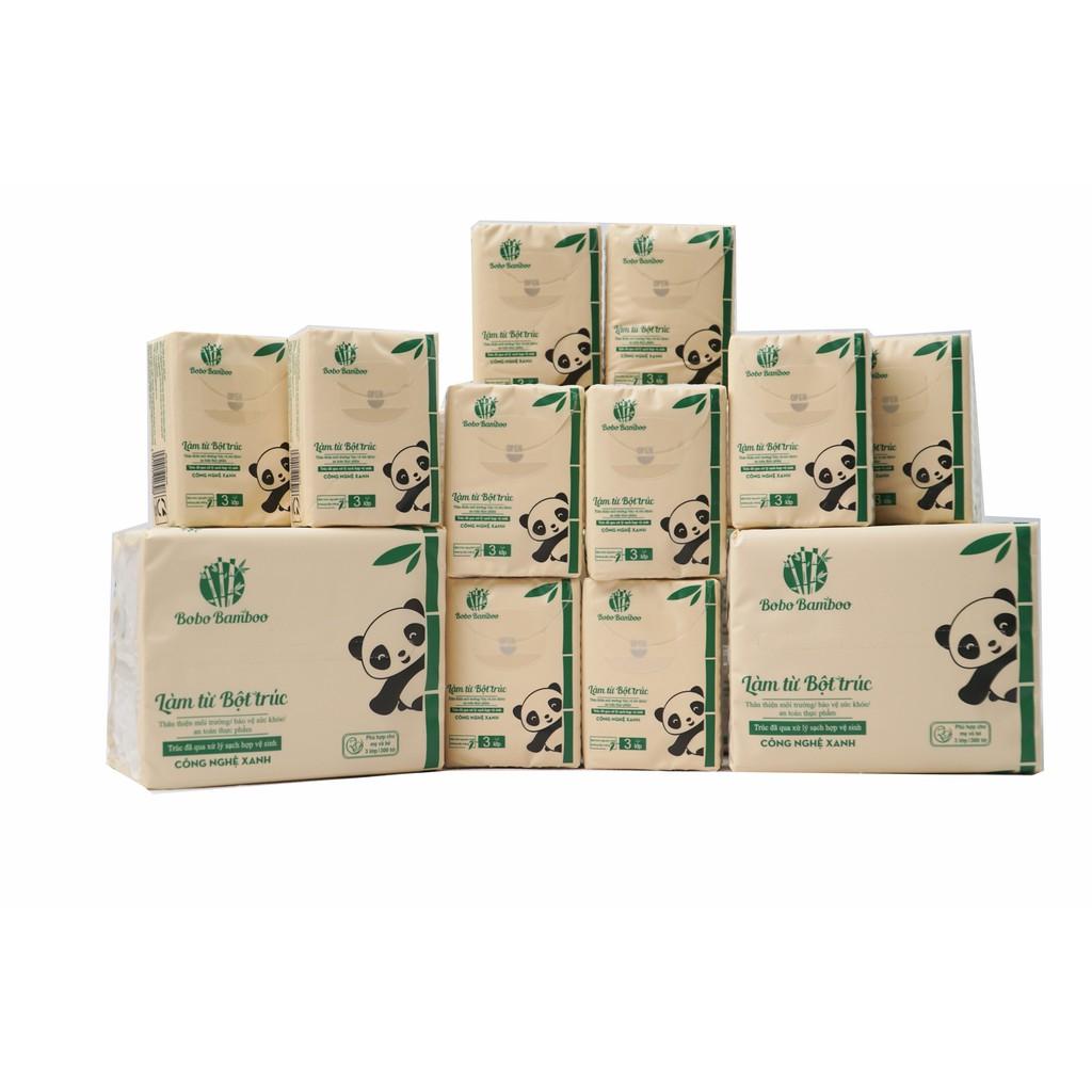 Combo giấy gấu trúc 36 gói rút+ 20 gói khăn giấy bỏ túi làm từ bột trúc siêu dai Bobo B