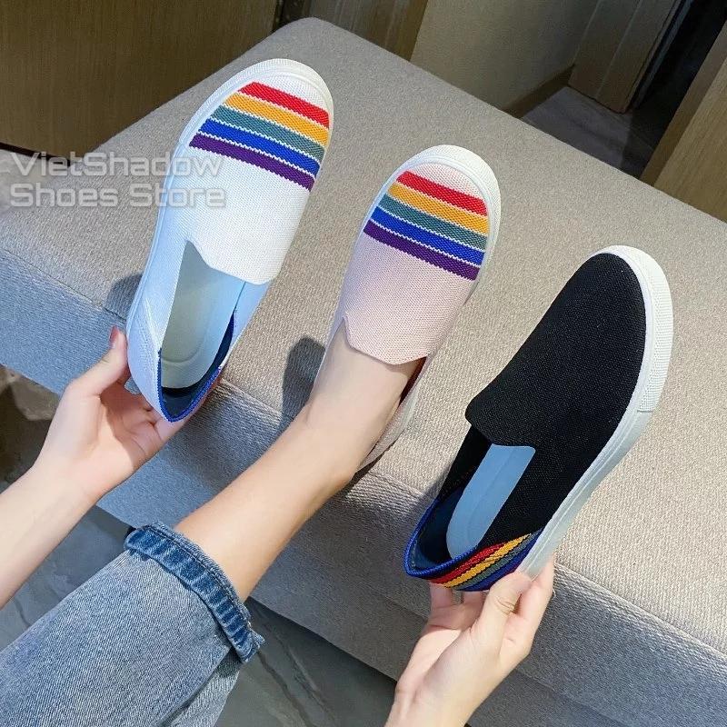 Slip on nữ - Giày lười vải nữ - Mũ giày dệt kim tạo hình 3D, 4 màu (đen), (trắng), (be) và (hồng) - Mã K5001