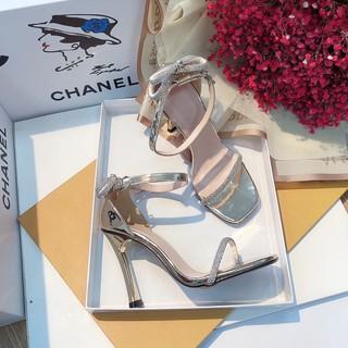 Sandal quai đính đá, dép cao gót đính nơ đá siêu đẹp, giày cao gót 9p