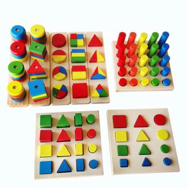 BỘ GIÁO CỤ HÌNH HỌC #MONTESSORI - 8 món - Đồ chơi giáo dục gỗ an toàn cho bé wooden...