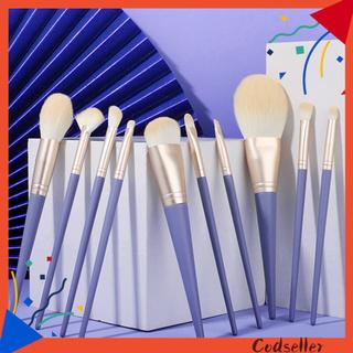 CODseller 10Pcs/Set Makeup Brushes Skin-friendly Portable Blue Wood Handle Foundation Brushes for Beauty