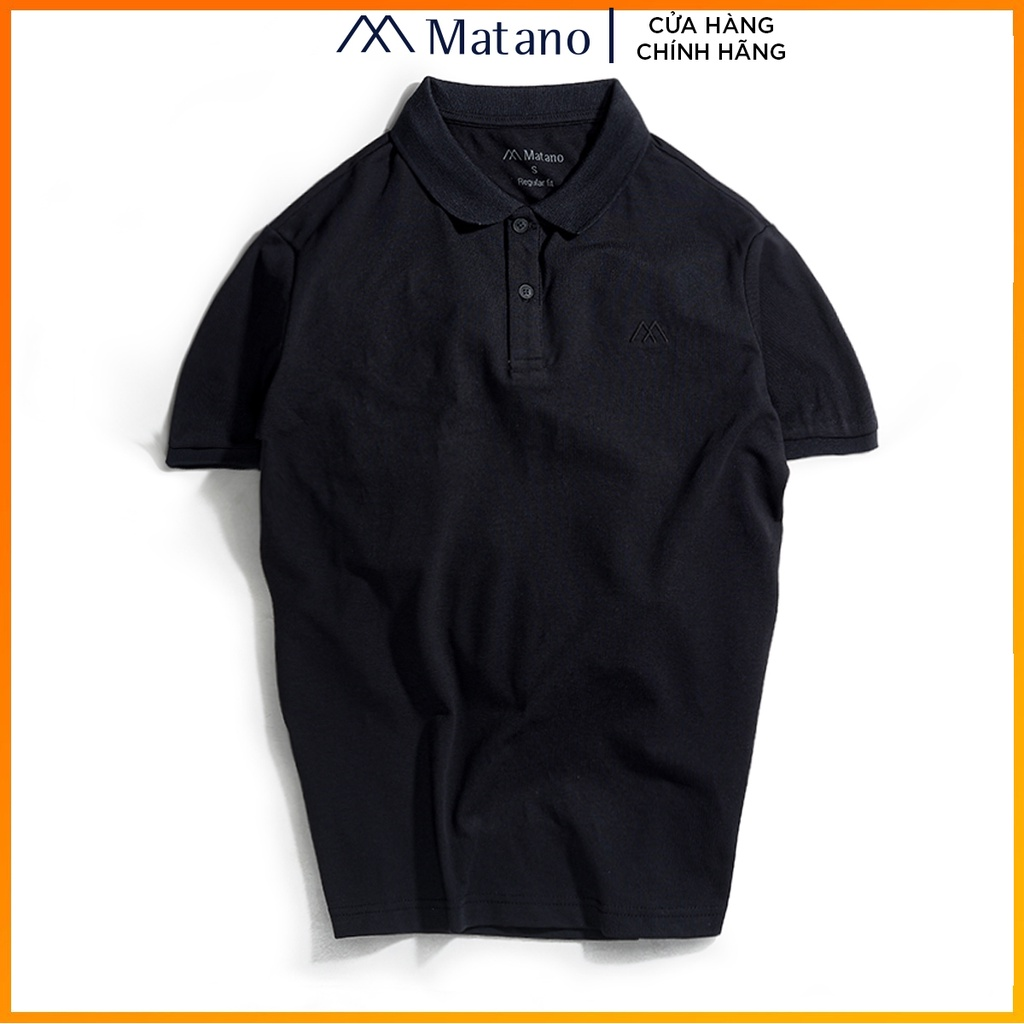 Áo polo nam đen trơn basic đẹp MATANO - Áo thun nam có cổ trụ bẻ, vải cá sấu cotton cao cấp chính hãng giá rẻ 023